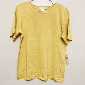 Cathy Daniels Holiday Gold Jewel Neck Top
